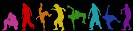 Dancing street dance silhouettes in urban style on black background, vector illustration Ilustração