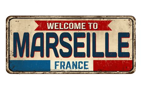 Welcome to Marseille vintage rusty metal sign on a white background, vector illustration Vector Illustration