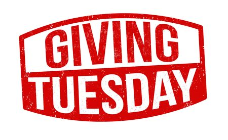 Giving tuesday sign or stamp on white background, vector illustration