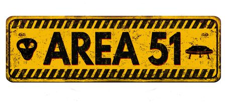 Area 51 vintage rusty metal sign on a white background, vector illustration