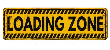 Loading zone vintage rusty metal sign on a white background, vector illustration
