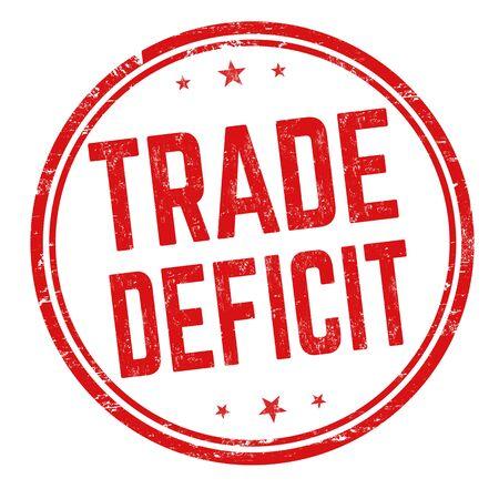 Trade deficit sign or stamp on white background, vector illustration