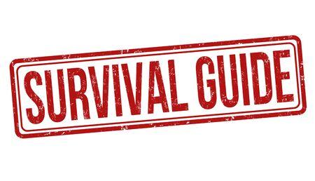 Guide de survie tampon en caoutchouc grunge sur fond blanc, illustration vectorielle