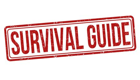 Survival guide grunge rubber stamp on white background, vector illustration
