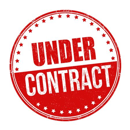 Under contract sign or stamp on white background, vector illustration