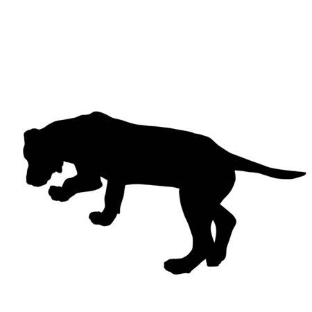Dog silhouette sniffing the tracks on white background, vector illustration