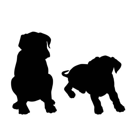 Two puppy sitting silhouettes on white background, vector illustration