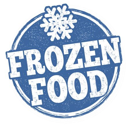 Frozen food grunge rubber stamp on white background, vector illustration