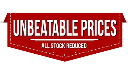 Unbeatable prices banner design on white background, vector illustration
