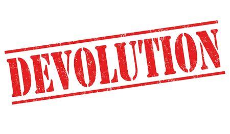 Devolution sign or stamp on white background, vector illustration