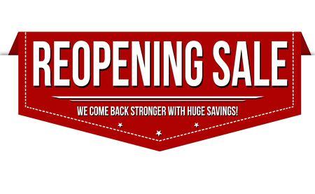Reopening sale banner design on white background, vector illustration