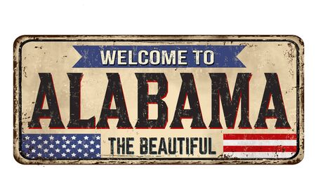 Welcome to Alabama vintage rusty metal sign on a white