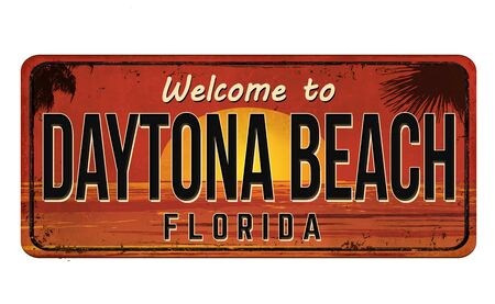 Welcome to Daytona Beach vintage rusty metal sign on a white Vectores