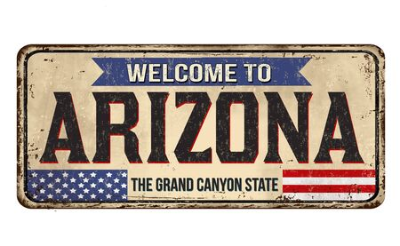 Welcome to Arizona vintage rusty metal sign on a white