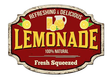 Lemonade vintage rusty metal sign on a white Vectores