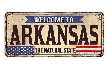 Welcome to Arkansas vintage rusty metal sign on a white