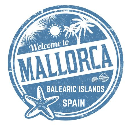 Welcome to Mallorca sign or stamp on white background, vector illustration