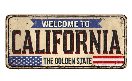 Welcome to California vintage rusty metal sign on a white background, vector illustration 写真素材 - 150061891