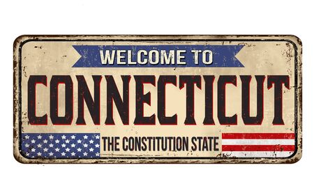 Welcome to Connecticut vintage rusty metal sign on a white background, vector illustration