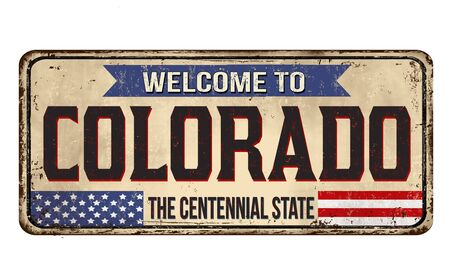Welcome to Colorado vintage rusty metal sign on a white background, vector illustration 写真素材 - 150061916