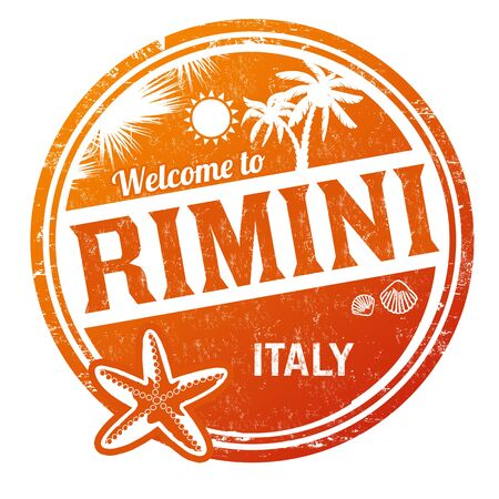 Welcome to Rimini grunge rubber stamp on white background, vector illustration