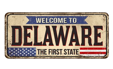 Delaware vintage rusty metal sign on a white background, vector illustration 写真素材 - 150061914