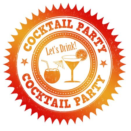 Cocktail party grunge rubber stamp on white background, vector illustration