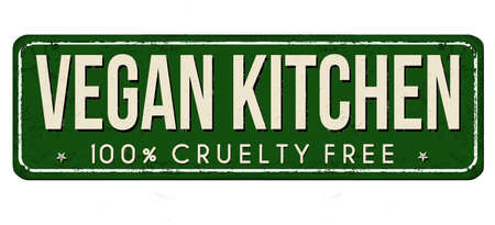 Vegan kitchen vintage rusty metal sign on a white background, vector illustration