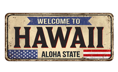 Welcome to Hawaii vintage rusty metal sign on a white background, vector illustration Illusztráció