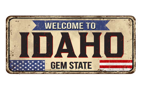 Welcome to Idaho vintage rusty metal sign on a white background, vector illustration Illusztráció