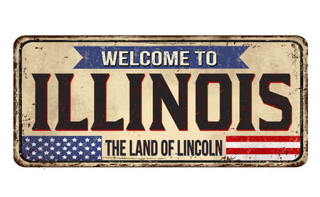 Welcome to Illinois vintage rusty metal sign on a white background, vector illustration Illusztráció