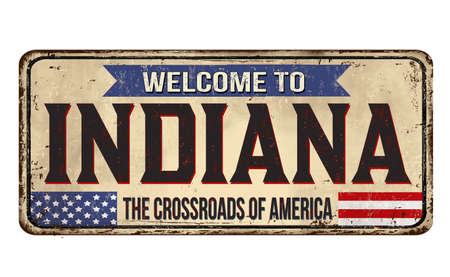 Welcome to Indiana vintage rusty metal sign on a white background, vector illustration 写真素材 - 150823086
