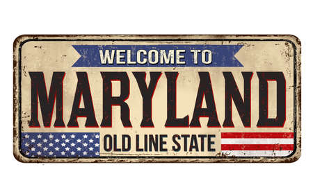 Welcome to Maryland vintage rusty metal sign on a white background, vector illustration 写真素材 - 151213541