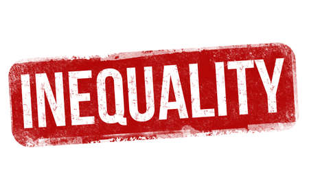 Inequality sign or stamp on white background, vector illustration