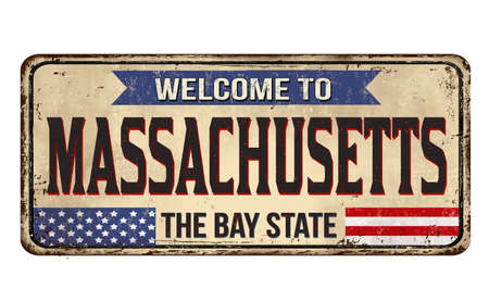 Welcome to Massachusetts vintage rusty metal sign on a white background, vector illustration 写真素材 - 151213569