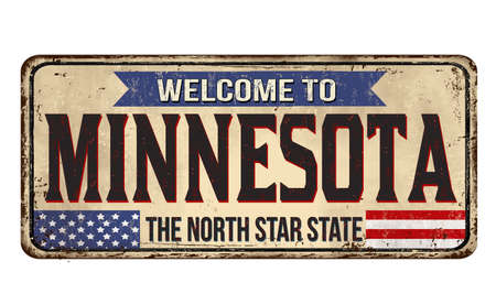 Welcome to Minnesota vintage rusty metal sign on a white background, vector illustration