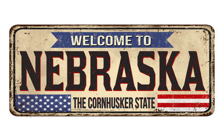 Welcome to Nebraska vintage rusty metal sign on a white background, illustration