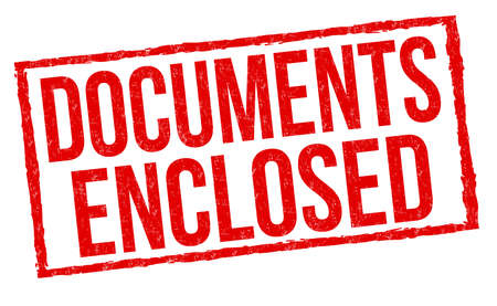 Documents enclosed sign or stamp on white background, vector illustration