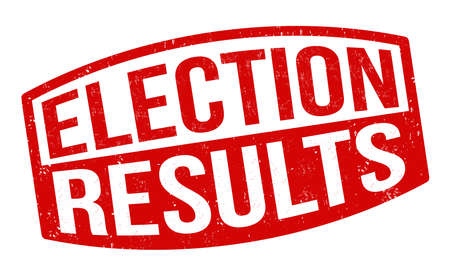 Election results sign or stamp on white background, vector illustration