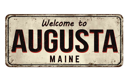 Welcome to Augusta vintage rusty metal sign on a white background, vector illustration Ilustrace