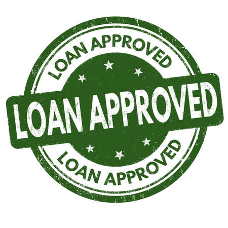 Loan approved sign or stamp on white background, vector illustration