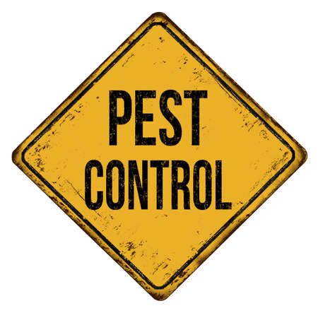 Pest control vintage rusty metal sign on a white background, vector illustration
