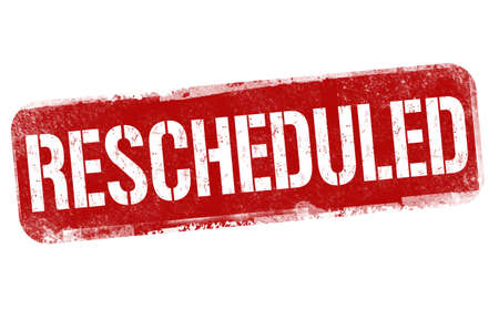 Rescheduled sign or stamp on white background, vector illustration 일러스트