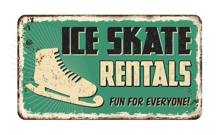 Ice skate rentals vintage rusty metal sign on a white background, vector illustration