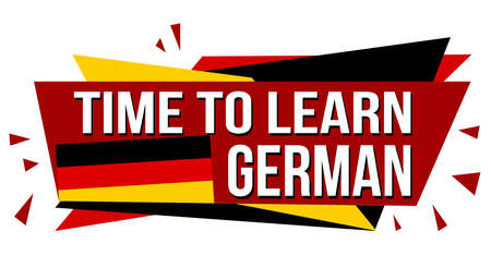 Time to learn german banner design on white background, vector illustration