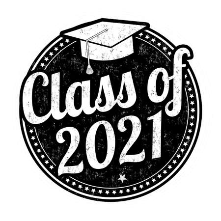 Class of 2021 grunge rubber stamp on white background, vector illustration Ilustración de vector
