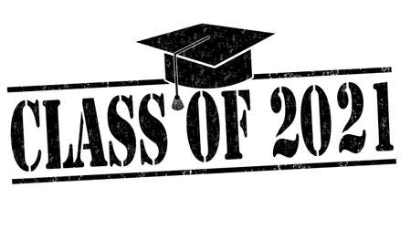 Class of 2021 grunge rubber stamp on white, vector illustration