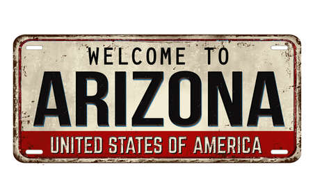 Welcome to Arizona vintage rusty metal plate on a white background, vector illustration