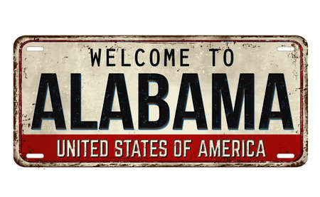 Welcome to Alabama vintage rusty metal plate on a white background, vector illustration