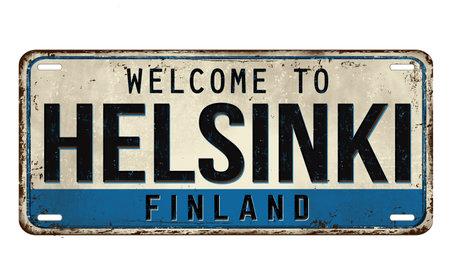 Welcome to Helsinki vintage rusty metal plate on a white background, vector illustration Vektorové ilustrace